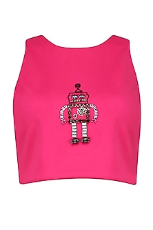 Magenta Robot Motif Bead Embroidered Crop Top by Kukoon