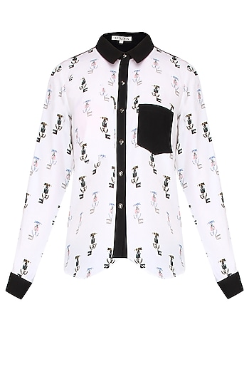 White And Black Printed Asymmetric Shirt by Kukoon