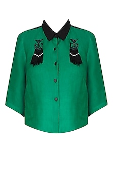 Black And Emerald Green Fringed Robot Motif Shirt by Kukoon