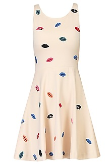 Buttermilk Beige Sweet Lips Embroidered Skater Dress by Kukoon