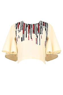 Beige Geometric Pattern Flared Sleeves Crop Top by Kukoon