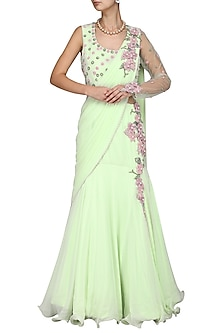 Green Embroidered Saree Gown by Kushal's