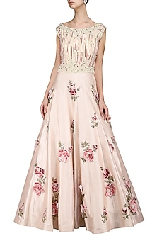 Light Pink Embroidered Gown by Kushal's
