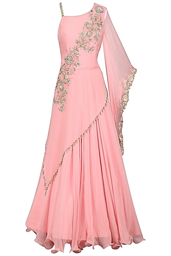 Pink Embroidered Draped Gown by Kushal's