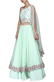 Aqua Hand Embroidered Gown by Kushal's