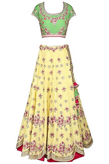 Yellow and Green Embroidered Lehenga Set by Kushal's