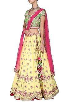 Yellow and Green Embroidered Lehenga Set by Kushal's