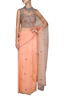 Dark Peach and Grey Embroidered Saree by Kushal's