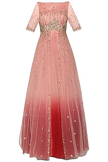 Peachish Pink Embroidered Gown by Kudi Pataka Designs