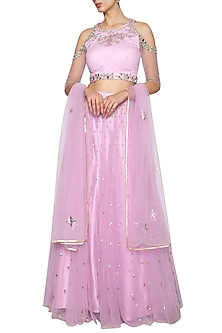 Lilac Embroidered Lehenga Set by Kudi Pataka Designs