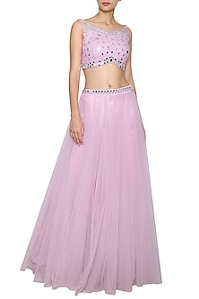 Lilac Embroidered Crop Top with Lehenga Skirt by Kudi Pataka Designs