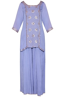 Lavender Embroidered Sharara Set by Kudi Pataka Designs