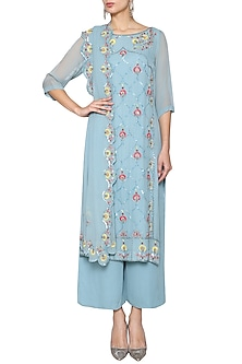 Blue and Grey Embroidered Suit by Kudi Pataka Designs