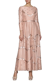 Nude Peach Embroidered Gown by Kudi Pataka Designs