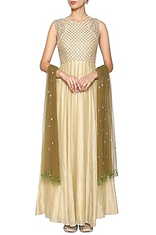 Yellow Olive Embroidered Gown with Dupatta by Kudi Pataka Designs