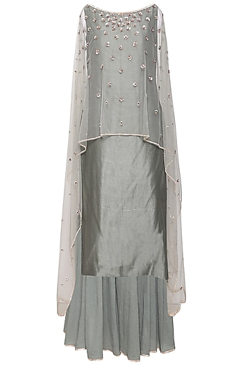 Greyish Green Kurta Set by Kudi Pataka Designs