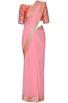 Pink Embroidered Saree Set by Kudi Pataka Designs