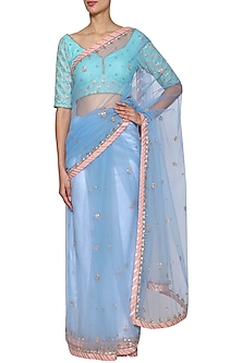 Periwinkle Blue Embroidered Saree Set by Kudi Pataka Designs