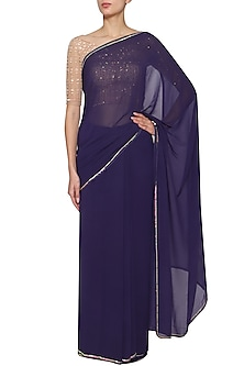 Navy Blue Embroidered Saree Set by Kudi Pataka Designs