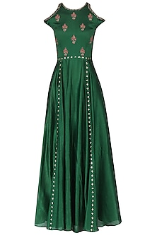 Dark green embroidered cold shoulder maxi gown by Kudi Pataka Designs
