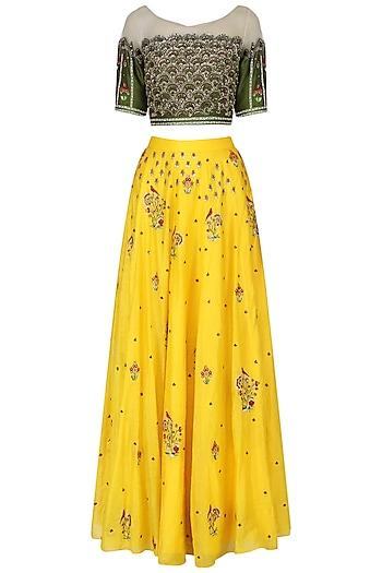 Yellow and olive green embroidered lehenga set by Kudi Pataka Designs