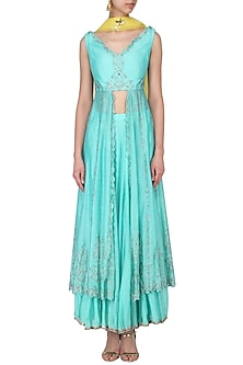 Turquoise blue embroidered tunic with skirt set by Kudi Pataka Designs
