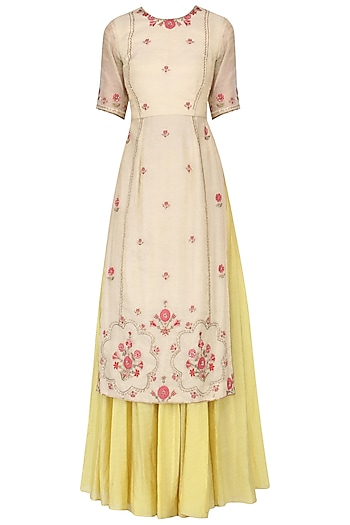 Ivory embroidered kurta with olive gold skirt by Kudi Pataka Designs