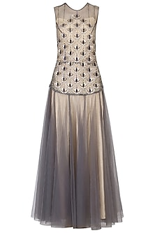 Grey embroidered drop waist gown by Kudi Pataka Designs