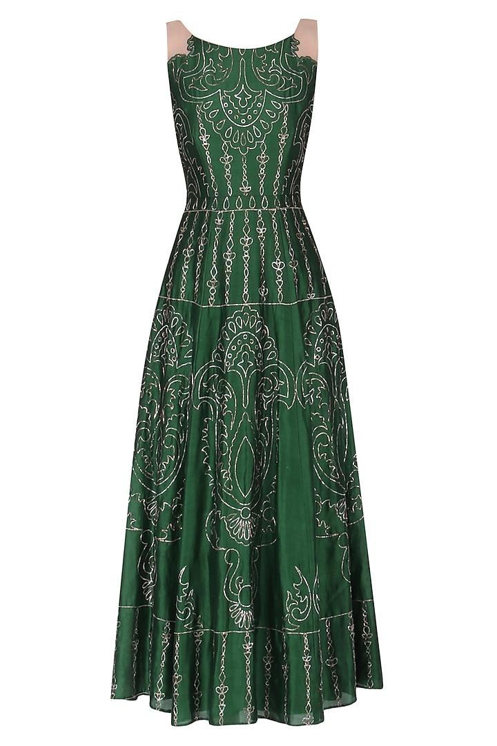 Dark green embroidered gown by Kudi Pataka Designs