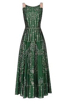 Dark green embroidered gown by Kudi Pataka Designs