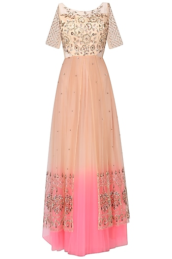 Nude peach to neon pink ombred embroidered gown by Kudi Pataka Designs