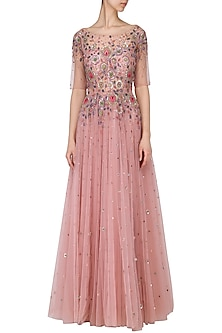 Dusty pink embroidered gown by Kudi Pataka Designs