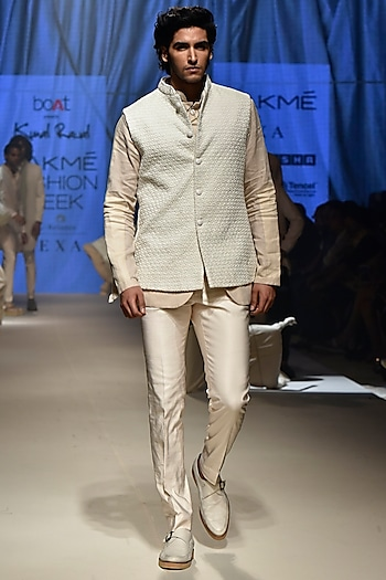 Vanilla Koti Jacket With Pants & Beige Bandhgala by Kunal Rawal