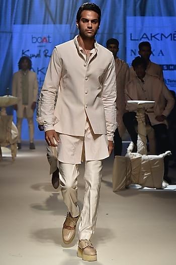 Vanilla Textured Koti Jacket With Kurta & Breeches by Kunal Rawal