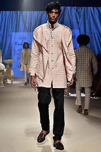 Pink Boomerang Hoodie WIth Kurta & Black Churidar Pants by Kunal Rawal