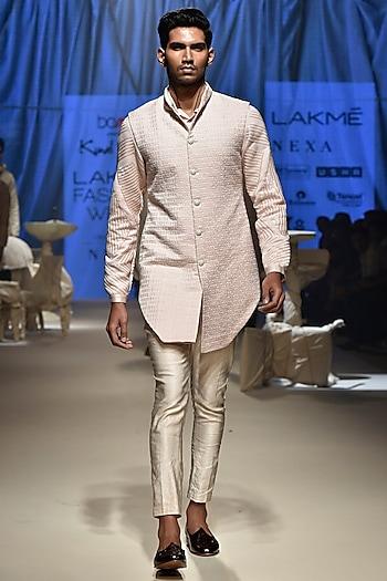 Pink & Vanilla Kurta Set With Koti Jacket by Kunal Rawal