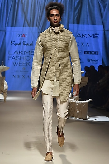 Golden Floral Sherwani With Mock Bandi, Kurta & Vanilla Pants by Kunal Rawal