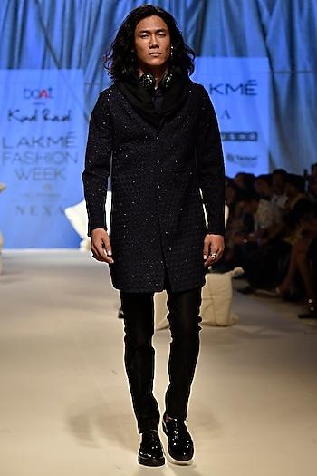 Navy Blue & Black Deconstructed Sherwani Set With Hoodie by Kunal Rawal