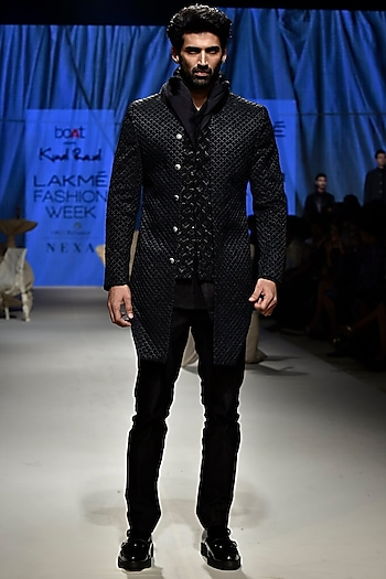 Black Sherwani Set With Hoodie by Kunal Rawal