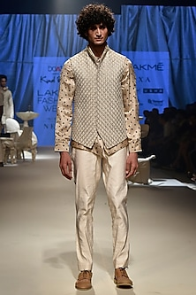 Beige Bandhani Denim Jacket by Kunal Rawal