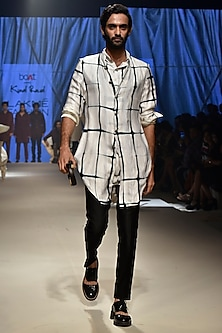 Vanilla Checkered Koti Jacket by Kunal Rawal