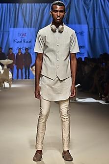 Vanilla Textured Koti Jacket by Kunal Rawal