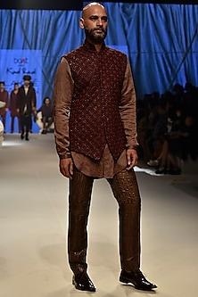 Mushroom Leather textured Kurta by Kunal Rawal