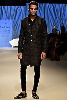 Black Corded V-Neck Kurta by Kunal Rawal