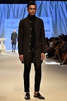 Grey Panelled Sherwani by Kunal Rawal