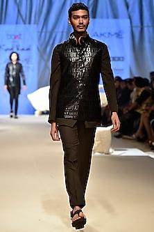 Black Roman Corded Bundi Jacket by Kunal Rawal