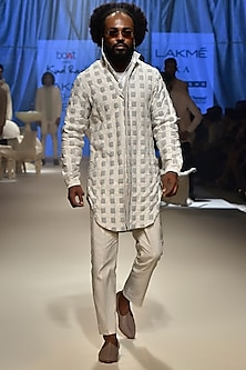 Ice Blue Textured Checks Kurta by Kunal Rawal