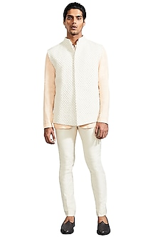 Vanilla White Knotted Pattern Jacket by Kunal Rawal