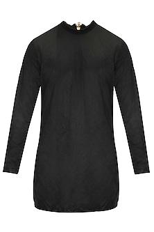 Black and mustard ribbed neck kurta with black silk patiala pants by Kunal Rawal