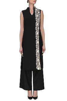 Black high neck tunic with palazzo pants by Kavya Chandra